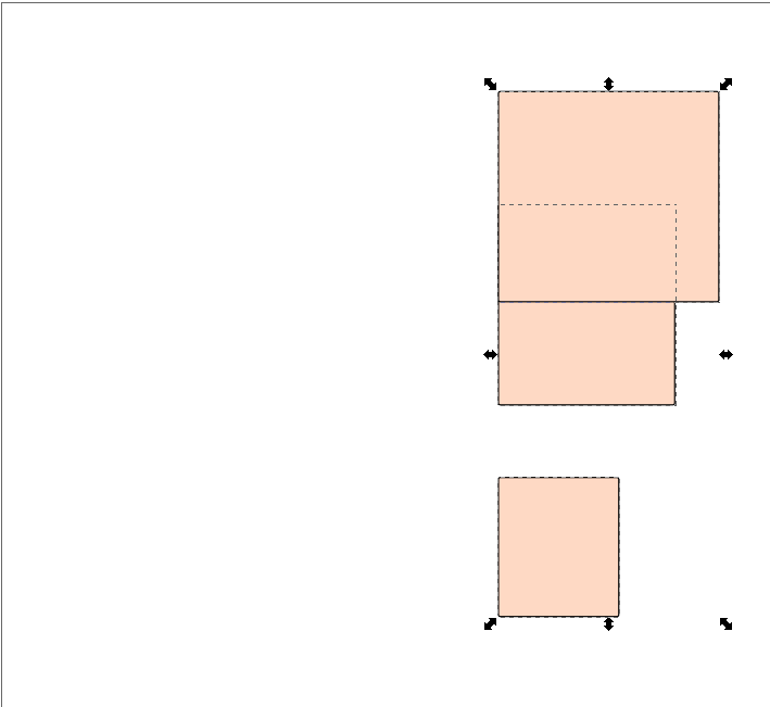 Inkscape squares after Align left edges of objects to the right edge of the anchor