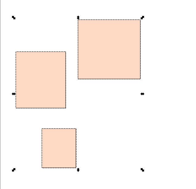 Inkscape squares before Align left edges of objects to the right edge of the anchor