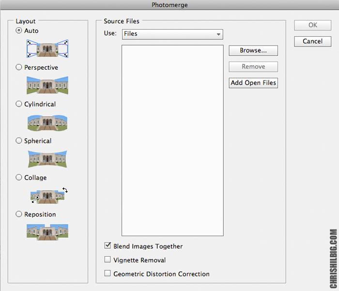 The Photomerge window in PhotoShop CS 5 on my iMac
